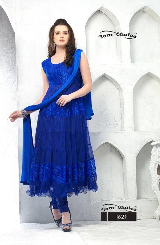 ethnic Blue Colored Suit Anarkali Party Wear designer Salwar Kameez dress