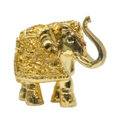 Gold Plated Elephant Size 4 Trunk Up Statues