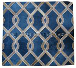 SGE Same As Picture Geometric Design Leather Hide Carpets