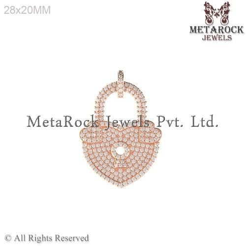 14K Lock Design Pave Setting Diamond Charm Pendant