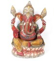 Wooden Ganesha With Real Gold and Silver Leaf Work