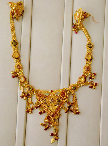 a8fdc0ab0ef8bc Jadatar With Pearl Real Gold Necklace - Anjani Export, Mumbai | ID ...