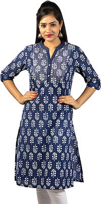 Cotton 3/4th Sleeve Blue Indigo Kurti