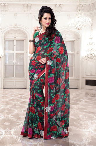 15348883a5 Indian Designer Party Wear Fancy Patch Patti Work Saree, पैच ...