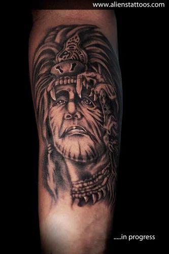 red indian tattoo in progress aliens tattoo service