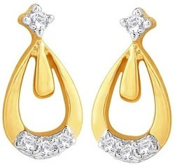Rhodium Plated Diamond Gold Stud Earring