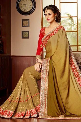 ab2098210d51b2 Cream Color Border Work Saree With Blouse - Sky Sarees