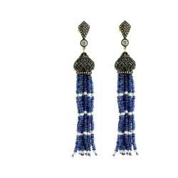 Blue Sapphire Bead Earrings