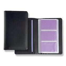 Black Leather and Plastic Combo Unique Slim Vertical Card Holder, for Id Card