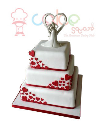 Csdwd004 white square with red hearts wedding cakes cake square csdwd004 white square with red hearts wedding cakes junglespirit Gallery