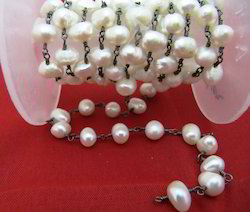 Fresh Water Pearl Rosary Chain 6-7mm, Handmade Beadchain