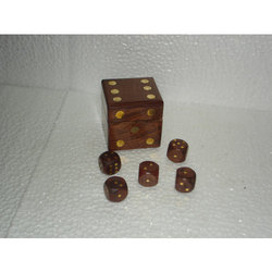 Brown Dice Wooden Box