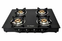 4 Burner Black Glass Top Gas Stove
