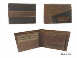 Brown Bi折叠正品男士皮质钱包,卡槽:3