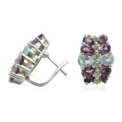 Silver Amethyst Topaz Earrings