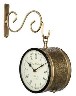 Antique Double Sided Railway Station Wall Clock