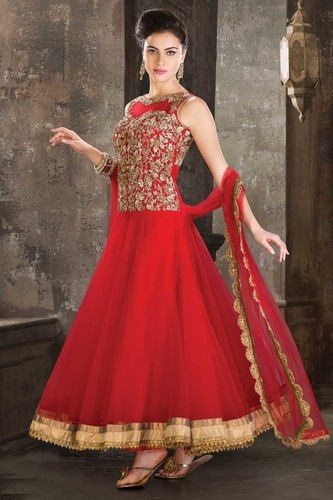 7887fdbeb1 Red Color Anarkali Suit, Sarees, Lehenga And Salwar Suits | Ghunghat ...