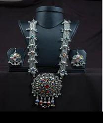 Laboni Handicrafts Silver Oxidized Long Necklace Set
