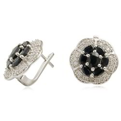 CZ And Black Sapphire Earring