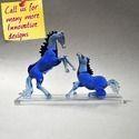 Modern Animal Blue Horses - Home Decor Made Of Glass - Custom Designs