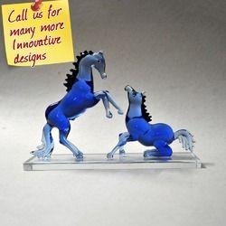 Blue Horses - Home Decor Made of Glass - Custom Designs
