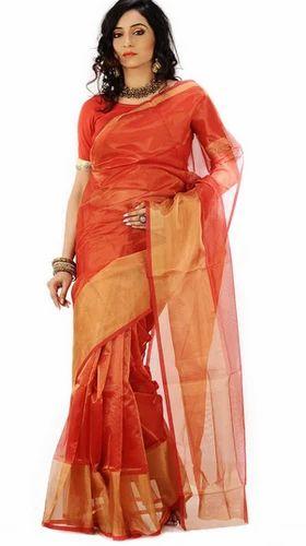 10e9fbb761a7f5 Shimmer-Infused Gold Border Orange-Red Tissue Saree - Rangotsav ...