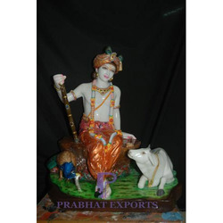 Colourful Marble Lord Krishna Statue