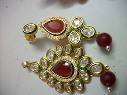 Brass Ruby Earrings