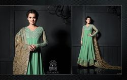 Embroidered Green Georgette Suits