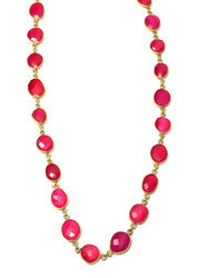 Hot Pink Chalcedony Bezel Gemstone Necklace