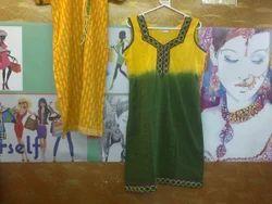 Yellow & Green Sleeveless Kurti With Lace Work