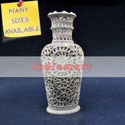 Leaf Carved Soapstone Flower Vases - Home Decor Stone Vase