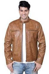 Men's Stylish Leather Jacket in Brown-Mboss
