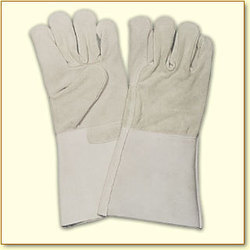 Sky Blue Leather Hand Gloves, Size: Free Size