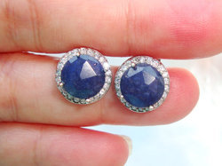 Dyed Blue Sapphire Pave Set Stud Earrings