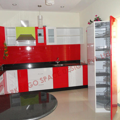 Red And White Modular Kitchen Cabinets, Rs 100000 /unit