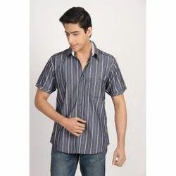 Striped Grey White Blue Shirt Shirt