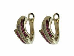 59% Party Wear Ruby Diamond Gold Earrings, 14 Kt, 4.44 Gms