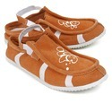Orange Leather Casual Shoes