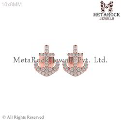 14k Rose Gold Pave Setting Diamond Earring Jewelry