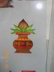 Designing Kalash Printing Glass, Size: 10-50 Square Feet