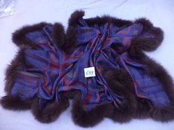 Woolen Jamawar with 4 Side Fur Trim Stoles