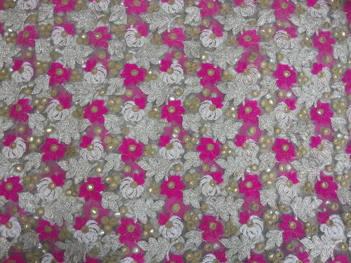 Raw Silk Embroidered Net Embroidery Fabric Use Dresses