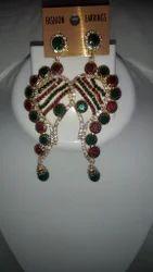 Pan Shape Colored Crystal Earring