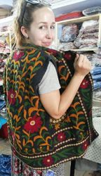 Indian Cotton Suzani Hand Embroidered Woman Jacket