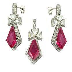 Art Palace Silver cz and pink glass gemstone pendant set