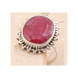 Silver Dyed Ruby Ring