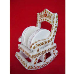 Eyecatching Tea Coaster Set In White Stone