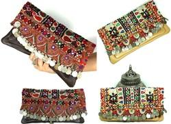 Vintage Fabric Tribal Gypsy Clutch Leather Clutch