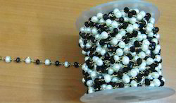 Black Spinel & Pearl 22Kt Gold Plated Rosary Chain 6mm